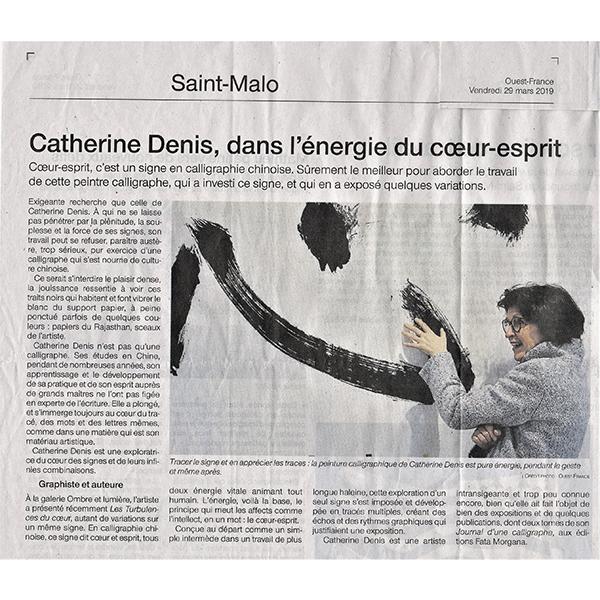 Catherine Denis artiste calligraphe française - article du Ouest France du 29 mars 2019