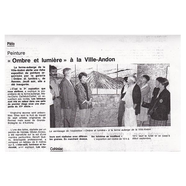 1991 - Ouest-France - exposition de groupe à La Ville Andon (22 - Plelo)