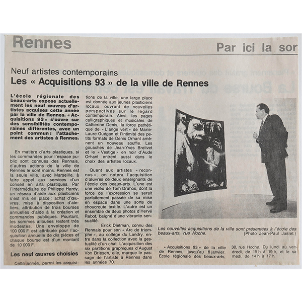 1994 - Ouest-France - Les acquisitions de la Ville de Rennes