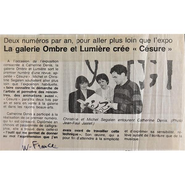 1994 - Ouest-France - Parution de Césure édité par la galerie Ombre et Lumière à Rennes